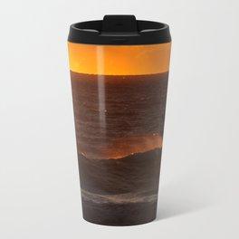Sunset Orange Wave Spray Beach Ocean Seascape Landscape Colored Wall Art Print Travel Mug