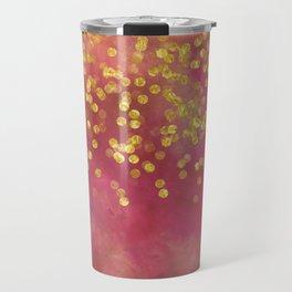 Golden Sparkles on Red Travel Mug