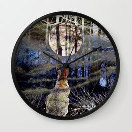 Midnight Forest Bunny I Wall Clock