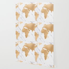 Marble World Map Copper Bronze Wallpaper