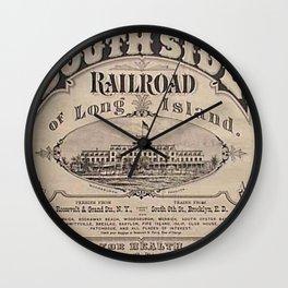 1873 Vintage South Side Railroad Long Island, New York Broadside Advertising Poster Wall Clock