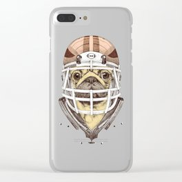 American Pug Football Yellow Clear iPhone Case