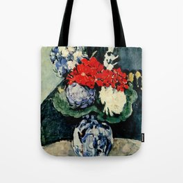 "Paul Cezanne ""Delft vase with flowers"" Tote Bag"