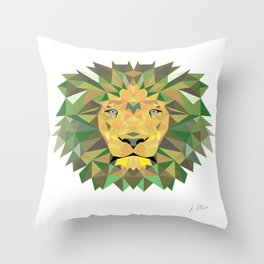 Geomatic Lion  Throw Pillow