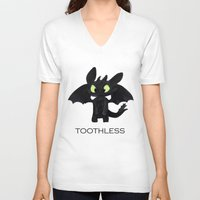 toothless V-neck T-shirts featuring Toothless  by Walko