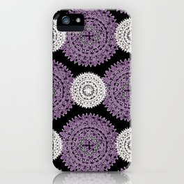 Pearl White and Purple Patterned Mandala Textile iPhone Case