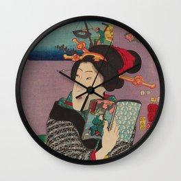 Utagawa Kuniyoshi - Landscapes and Beauties: Feeling Like Reading the Next Volume (1850s) Wall Clock