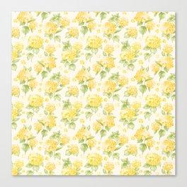 Modern  sunshine yellow green hortensia flowers Canvas Print
