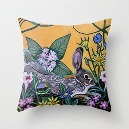 Rabbit Kickin' Back Throw Pillow