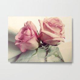 Cold Pink Roses Metal Print