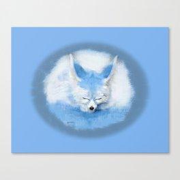 Sleeping Fennec Fox Blue Canvas Print