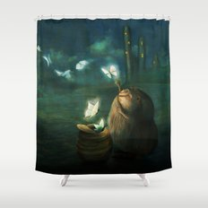 The Moth Basket Shower Curtain