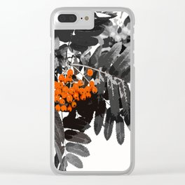 Red Rowan Berries In Black And White Background #decor #society6 Clear iPhone Case