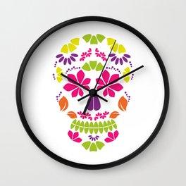 Calavera sugar skull or floral skull Wall Clock