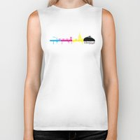 edinburgh Biker Tanks featuring Edinburgh CMYK by Kamero Designs