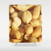 peanuts Shower Curtains featuring food, many small salted peanuts by Marina Kuchenbecker