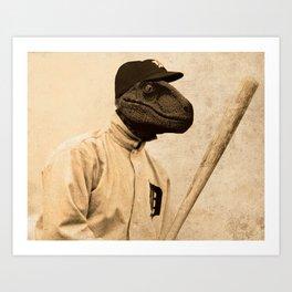 Baseball Velociraptor Art Print