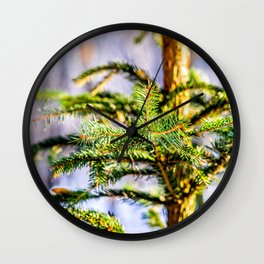 Christmas Tree Raises In The Forest Wall Clock