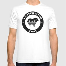 Unaffiliated Party Badge Mens Fitted Tee White MEDIUM
