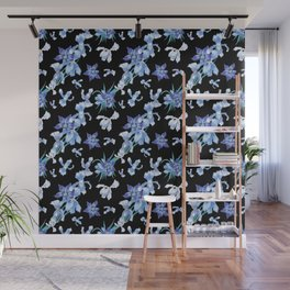 Orchid chic decor (blue & black palette) Wall Mural