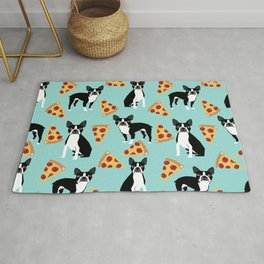 boston terrier pizza dog lover pet gifts cute boston terriers pure breeds Rug