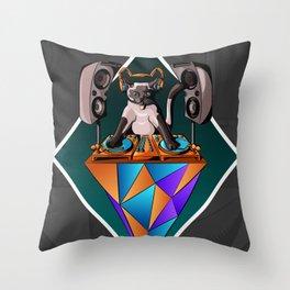 DJ Cat Throw Pillow
