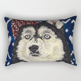 Husky in a Hat and Scarf Rectangular Pillow