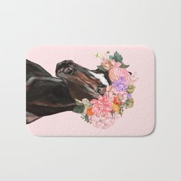 Horse with Flowers Crown in Pink Bath Mat