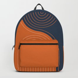 Geometric Lines in Navy Blue and vintage Orange 2 (Rainbow and Arch Abstract) Backpack