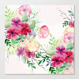 Vintage Flowers - Watercolor Floral Painting Canvas Print