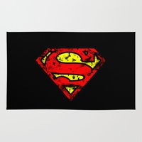 superman Area & Throw Rugs featuring Superman by sambeawesome