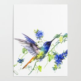 Hummingbird and Deep Blue Flowers, flying bird flowers design birds and flowers Poster