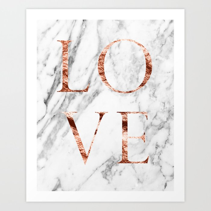 Rose Gold Marble Love Art Print By Marbleco Society6