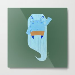 Floating Cute Girl - Cyan and Pine Metal Print