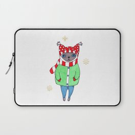 Cute Siamese Cat in Winter Scarf, Hat, Mittens, and Coat Laptop Sleeve