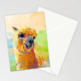 Colorful Happiness - Alpaca digital painting Stationery Cards