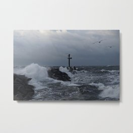 Stormy Day for Seagulls Metal Print