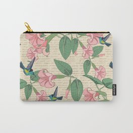 Vintage Hummingbirds and Angel's Trumpets Carry-All Pouch