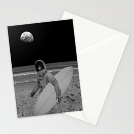 Moon surfer Stationery Cards