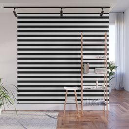 Midnight Black and White Horizontal Deck Chair Stripes Wall Mural