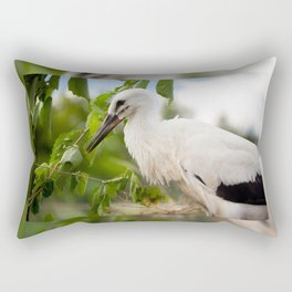 Orphaned one White Stork Rectangular Pillow