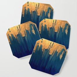 Gold Leaf & Blue Abstract Coaster