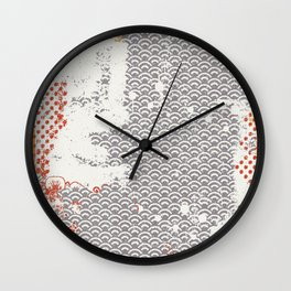 Crayon Bright Grey Geometric Shabby Abstract Collage Print Wall Clock