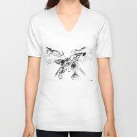 gundam V-neck T-shirts featuring Gundam Wing  by HobbSpot