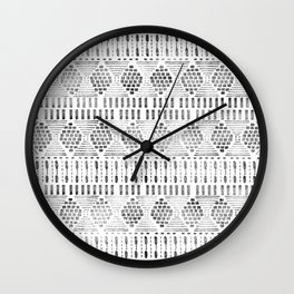 Aztec I Pattern Black and White Wall Clock