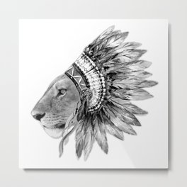 The Feminist - Chief Lioness - black and white Metal Print