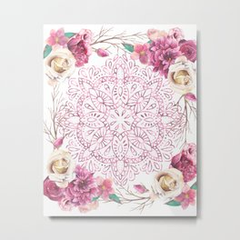 Mandala Rose Garden Pink on White Metal Print