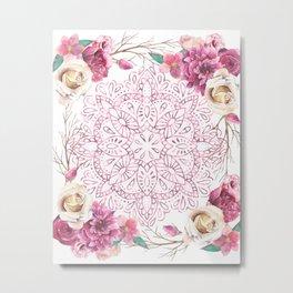 Mandala Rose Garden Pink on White Metal Print
