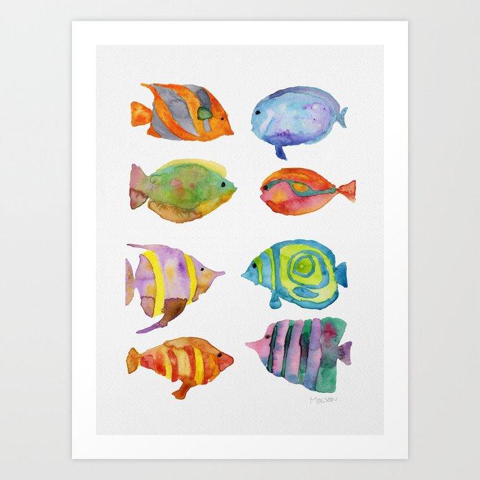 Watercolor Colorful Tropical Fish Kunstdrucke