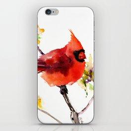 Cardinal Bird in Spring iPhone Skin
